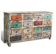 vidaXL Kast met 16 lades stijl gerecycled hout meerkleurig