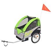 vidaXL Fietskar voor kinderen 30 kg grijs en groen