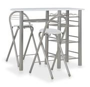 vidaXL 3-delige Barset met schappen hout en staal wit