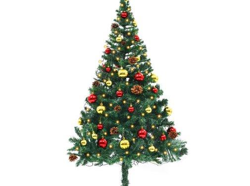 vidaXL Kunstkerstboom versierd met kerstballen en LED's 150 cm groen