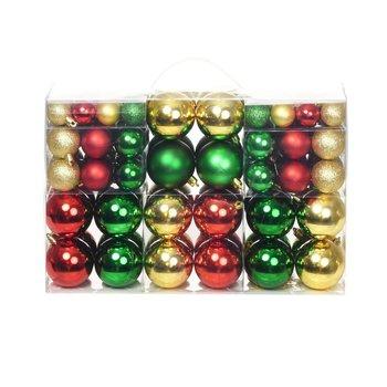 Kerstballenset 6 cm rood/goud/groen 100-delig
