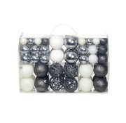 vidaXL Kerstballenset 6 cm wit/grijs 100-delig