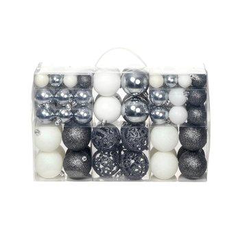 Kerstballenset 6 cm wit/grijs 100-delig