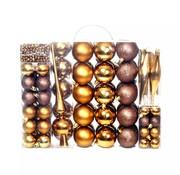 vidaXL Kerstballenset 6 cm bruin/brons/goud 113-delig