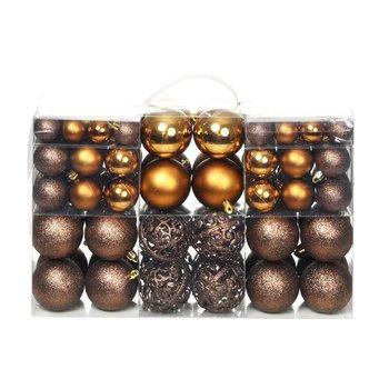 Kerstballenset 6 cm bruin/brons/goud 100-delig