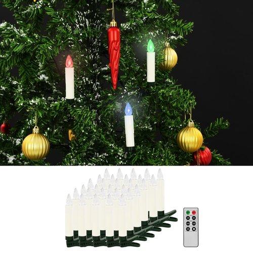 vidaXL LED-kaarsen kerst draadloos met afstandsbediening 30 st RGB
