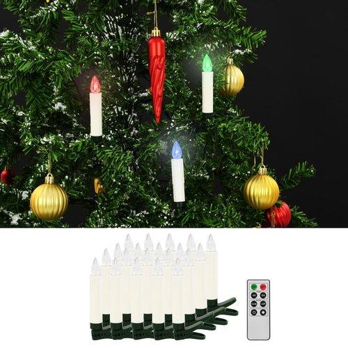 vidaXL LED-kaarsen kerst draadloos met afstandsbediening 20 st RGB