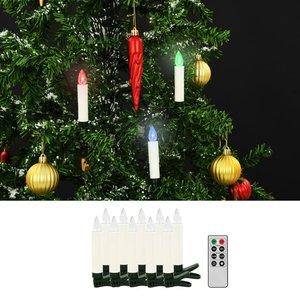 vidaXL LED-kaarsen kerst draadloos met afstandsbediening 10 st RGB