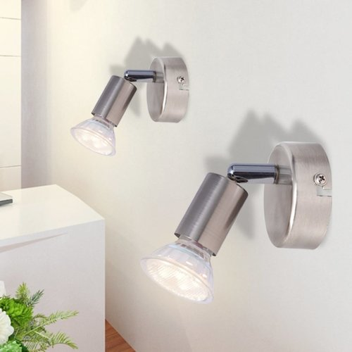 vidaXL wandlamp met 2 led-spotlights satijn nikkel