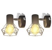 vidaXL Wandverlichting industriële stijl draadframe LED gloeilamp zwart 2 st