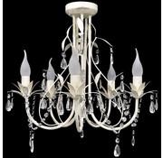 vidaXL Kristallen kroonluchter met wit elegant design (5 lampen)