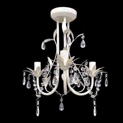 vidaXL Kristallen kroonluchter met wit elegant design (3 lampen)
