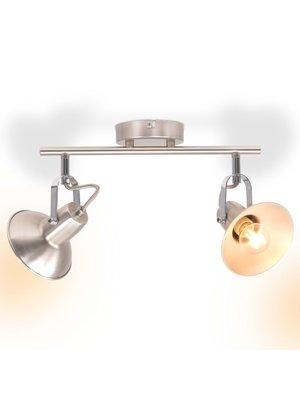 vidaXL Plafondlamp voor 2 peertjes E14 zilver