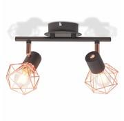 vidaXL Plafondlamp met 2 spotlights E14 zwart en koper