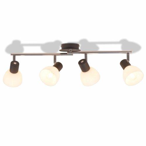 vidaXL Plafondlamp met 4 spotlights E14 zwart