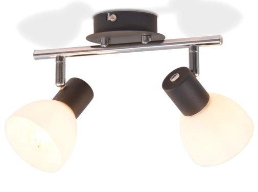 vidaXL Plafondlamp met 2 spotlights E14 zwart