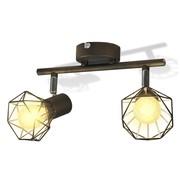 vidaXL Wandverlichting met 2 LED's industriële stijl draadframe zwart