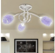 vidaXL Plafondlamp met paarse kristallen acryl kapjes (3 x G9)