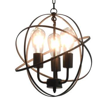 Hanglamp rond 3xE27 zwart