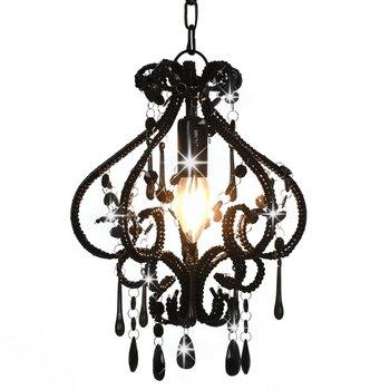 Plafondlamp met kralen rond E14 zwart