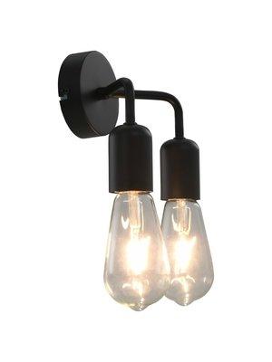 vidaXL Wandlamp E27 zwart