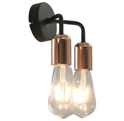 vidaXL Wandlamp E27 zwart en koper