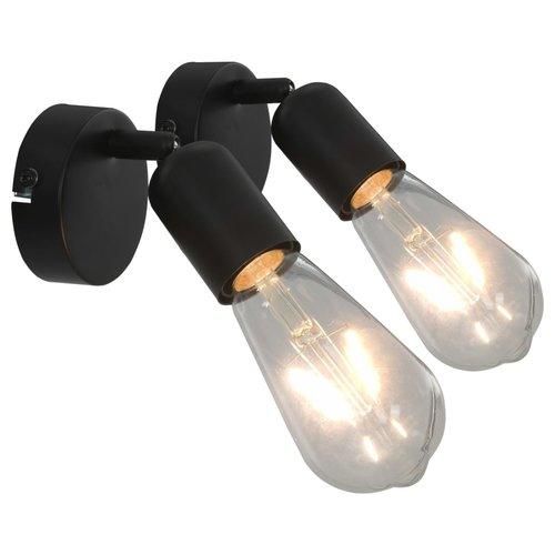 vidaXL Spotlights 2 st E27 zwart