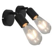 vidaXL Spotlights 2 st met filament peren 2 W E27 zwart