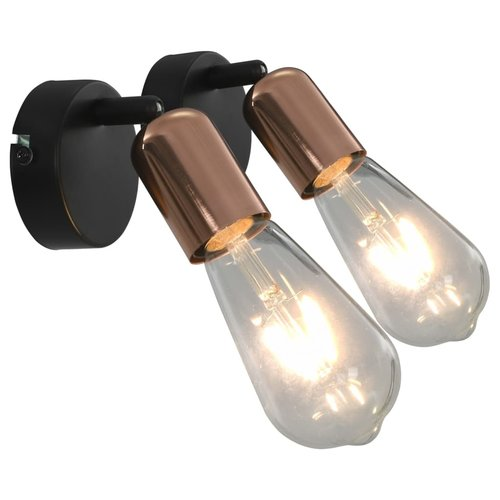 vidaXL Spotlights 2 st E27 zwart en koper