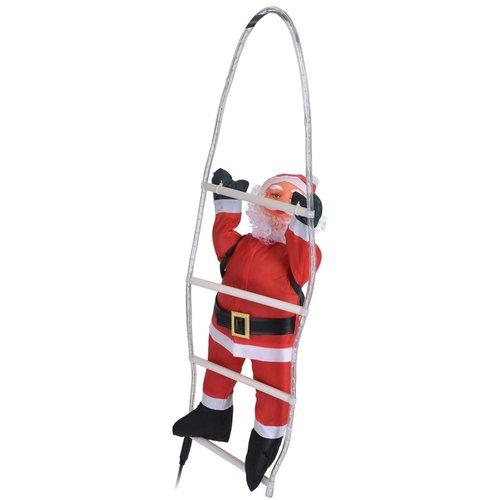 Kerstman op lichtgevende ladder - 90 cm