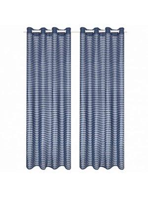 vidaXL Glasgordijnen geweven gestreept 140x245 cm blauw 2 st