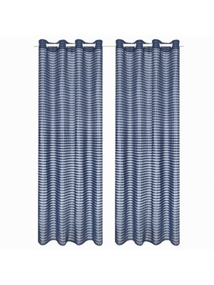vidaXL Glasgordijnen geweven gestreept 140x225 cm blauw 2 st