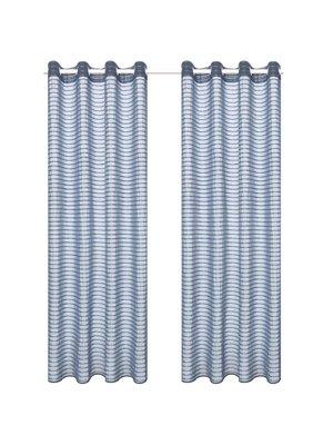 vidaXL Glasgordijnen geweven gestreept 140x245 cm staalgrijs 2 st
