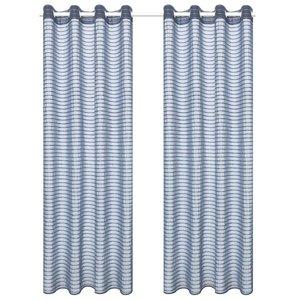 vidaXL Glasgordijnen geweven gestreept 140x225 cm staalgrijs 2 st
