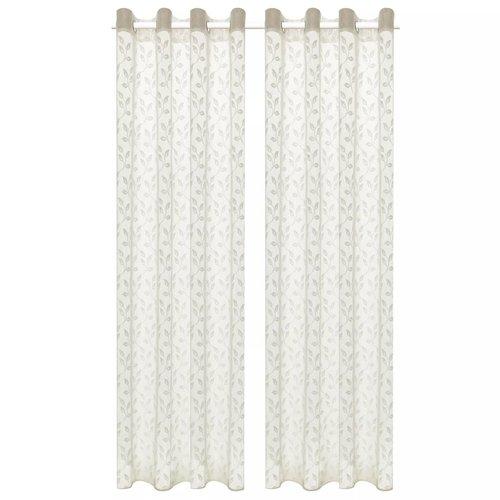 vidaXL Glasgordijnen warp-gebreid 140x175 cm bladeren crème 2 st