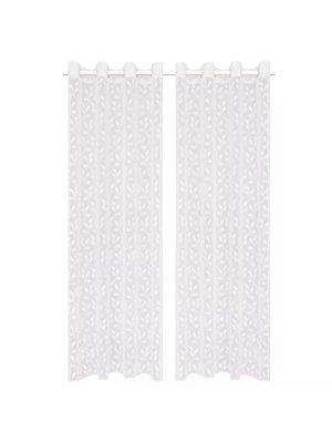 vidaXL Glasgordijnen warp-gebreid 140x175 cm bladeren wit 2 st