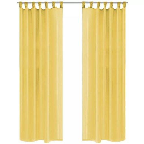 vidaXL Gordijnen voile 140x225 cm geel 2 st