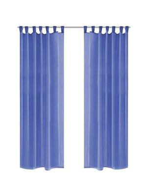 vidaXL Gordijnen voile 140x245 cm koningsblauw 2 st