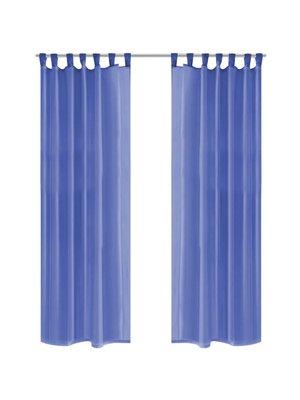 vidaXL Gordijnen voile 140x225 cm koningsblauw 2 st