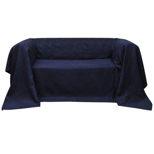 vidaXL Bankhoes 140x210 cm micro-suède marineblauw