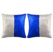 vidaXL Sierkussenset met pailletten 60x60 cm blauw en zilver 2-delig