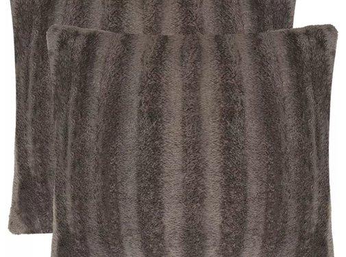 vidaXL Kussenslopen grijs 40x40 cm nepbont 2 st