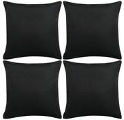 vidaXL Kussenslopen 4 stuks linnen-uitstraling zwart 40x40 cm
