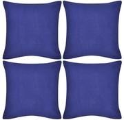 vidaXL Kussenhoezen katoen 80 x 80 cm blauw 4 stuks