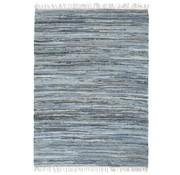 vidaXL Vloerkleed chindi handgeweven 80x160 cm denim blauw