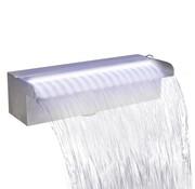 vidaXL Zwembadwaterval met LED's rechthoekig 30 cm roestvrij staal