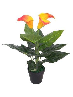 vidaXL Kunst calla lelie plant met pot 45 cm rood en geel