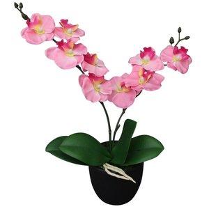 vidaXL Kunst orchidee plant met pot 30 cm roze