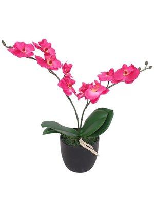 vidaXL Kunst orchidee plant met pot 30 cm rood