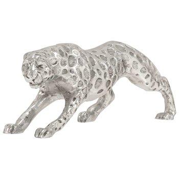 Jachtluipaard beeld 50x10x14 cm massief aluminium zilver